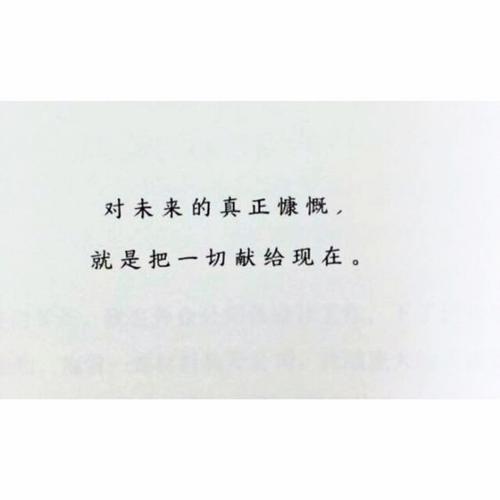 经典语录:未来的真正慷慨是将一切奉献给现在